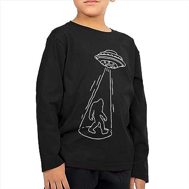 Boys Girls Kids /& Toddler Bigfoot with UFO Long Sleeve T-Shirt 100/% Cotton