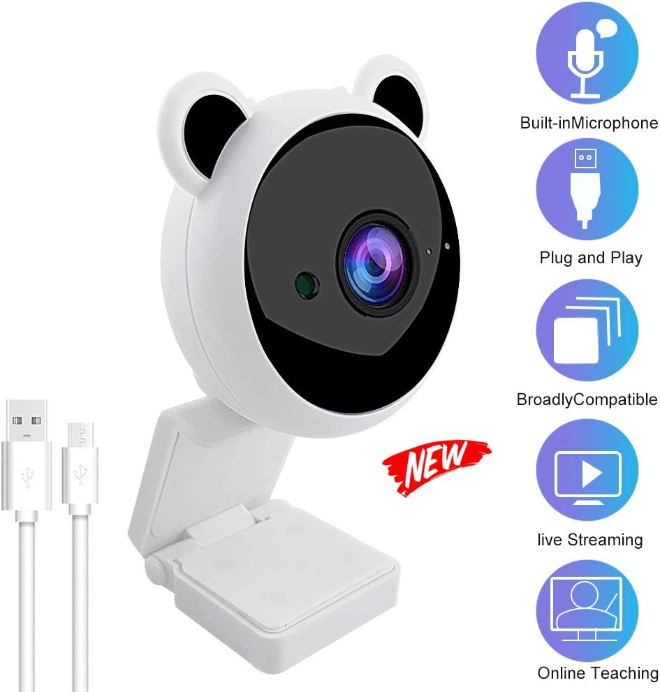 Latest 1080P Webcam,Plug and Play Computer Camera Built-in 8m Sound Absorption and Noise Reduction Microphone USB Webcam,30fps Streaming Camera Cartoon Webcam for Kids Online Class, Laptop