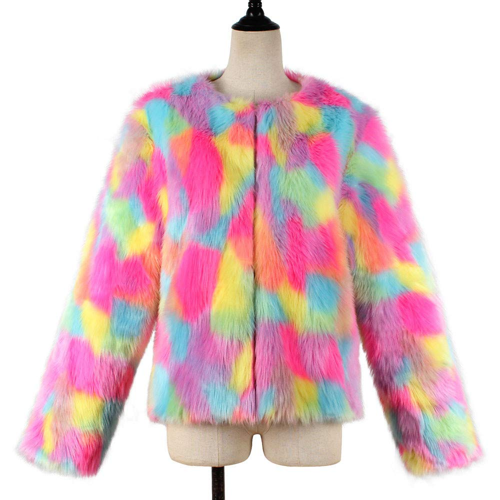 Winter Coat, Shybuy Women Fashion Faux Fur Coat Rainbow Color Winter Outerwear Artificial Fur Jacket Parkas at Amazon Womens Coats Shop