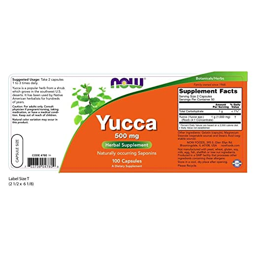 NOW Supplements, Yucca 500 mg, 100 Capsules