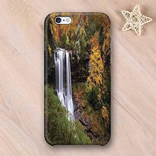 Waterfall Hard Shell Compatible with iPhone Case,Autumn Waterfalls with Trees and Pale Fall Leaves in The Forest Print Compatible with iPhone 7/8,iPhone 6/6s