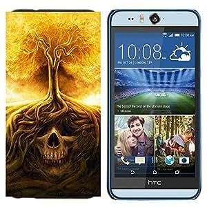 EJOOY---Cubierta de la caja de protección para la piel dura ** HTC Desire Eye M910x ** --Cráneo Árbol Fuego Significado Death Metal