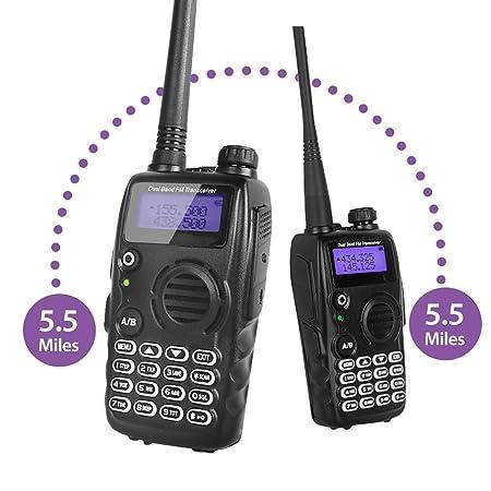 Radioddity GA-5S High Power Two Way Radio UHF VHF Dual Band Ham Radio Walkie Talkie with Flashlight Squelch 1800mAh Battery Earpiece Programming Cable, 2 Pack