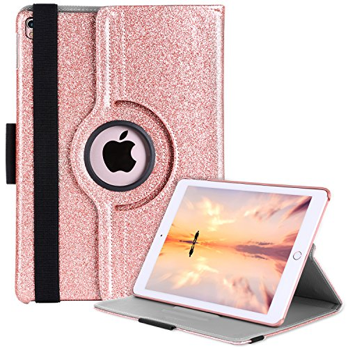iPad Pro 9.7 Case, BENTOBEN 360 Rotating Luxury Shiny Bling Synthetic Leather Smart Cover Kickstand with Apple Pencil Holder Smart Case for iPad Pro 9.7 inch Retina, Rose Gold
