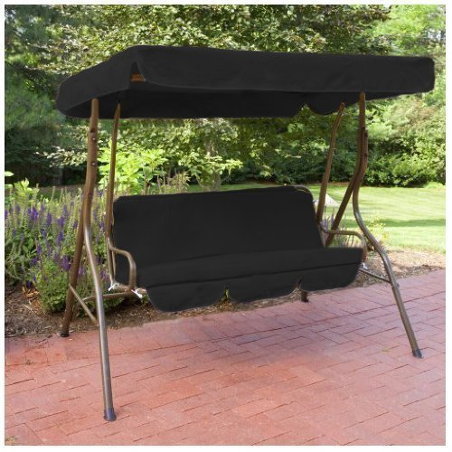 Water Resistant 2 Seater Replacement Canopy & Seat Pad ONLY for Swing Seat/Garden Hammock in Black Gardenista