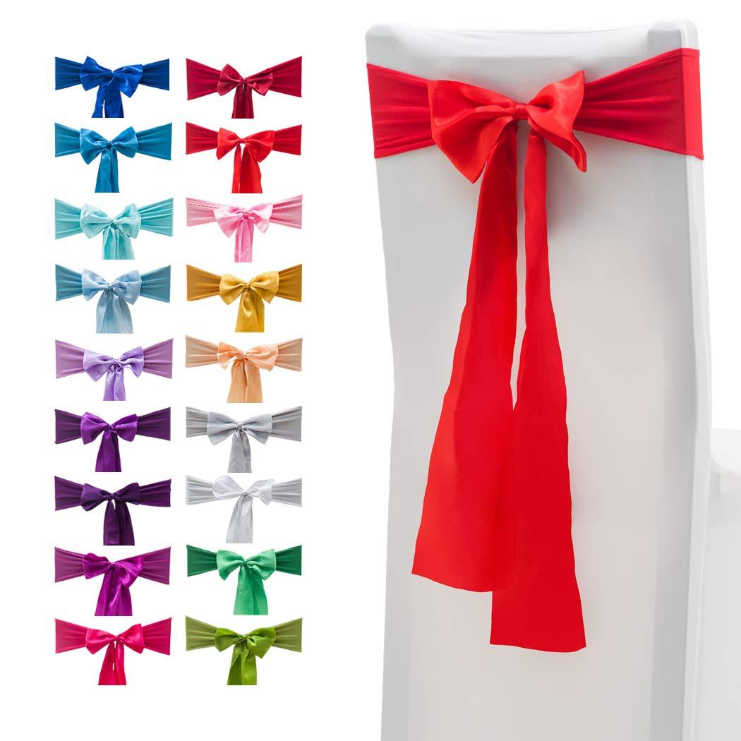 10/pcs /élastique Spandex Housses de chaise rubans Bandes Noeuds satin/é avec Bowknots pour mariage Maison D/écorations de f/ête 10 PCS Red