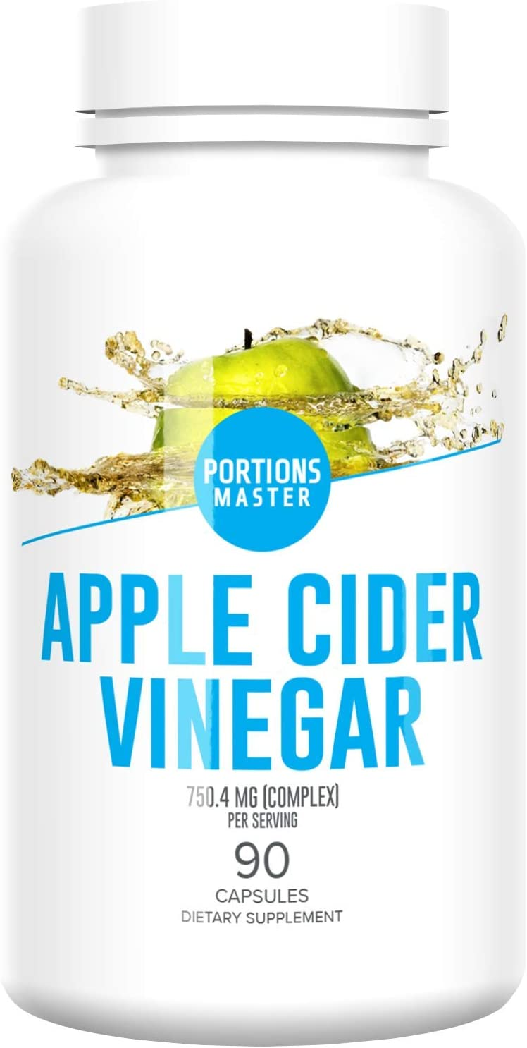 Portions Master Apple Cider Vinegar Pills from The Mother - Unfiltered Apple Cider Vinegar - Weight Loss - Detox Cleanse - Appetite Suppressant - Gastrointestinal Support - (750MG)