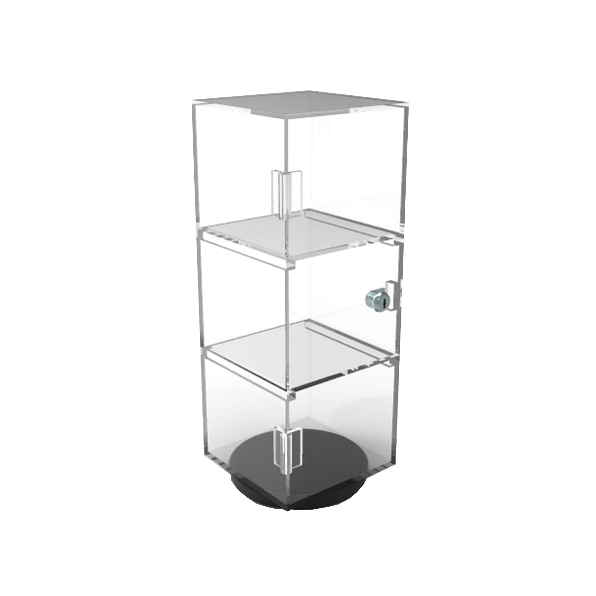 FixtureDisplays 6x6x16'' Rotating Mini Plexiglass Lucite Clear Acrylic Tower Showcase Display 20000