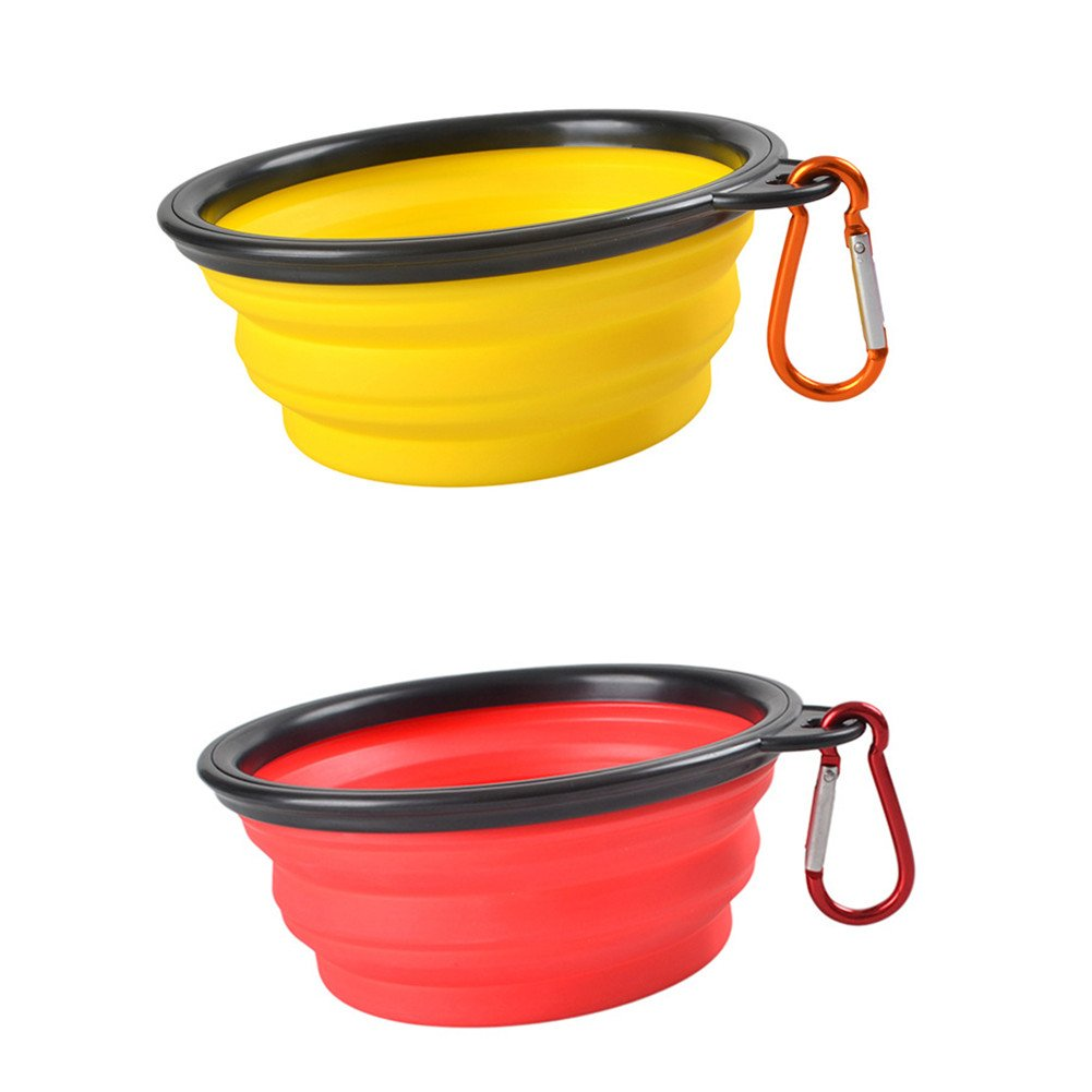 Red+Yellow Ahmagen Outfit Portable Collapsible Silicone Dog Bowls Food Grade Silicone Dog Cat Travel Bowl Food Water Feeder with Carabiner Clip (Red+Yellow)