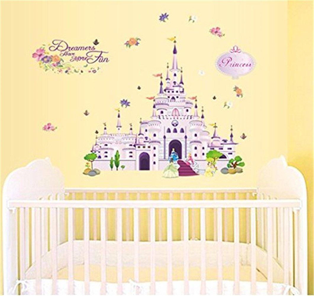 Amazon.com: Aquiver Cartoon Princess Castle Wall Decals,Children\'s ...