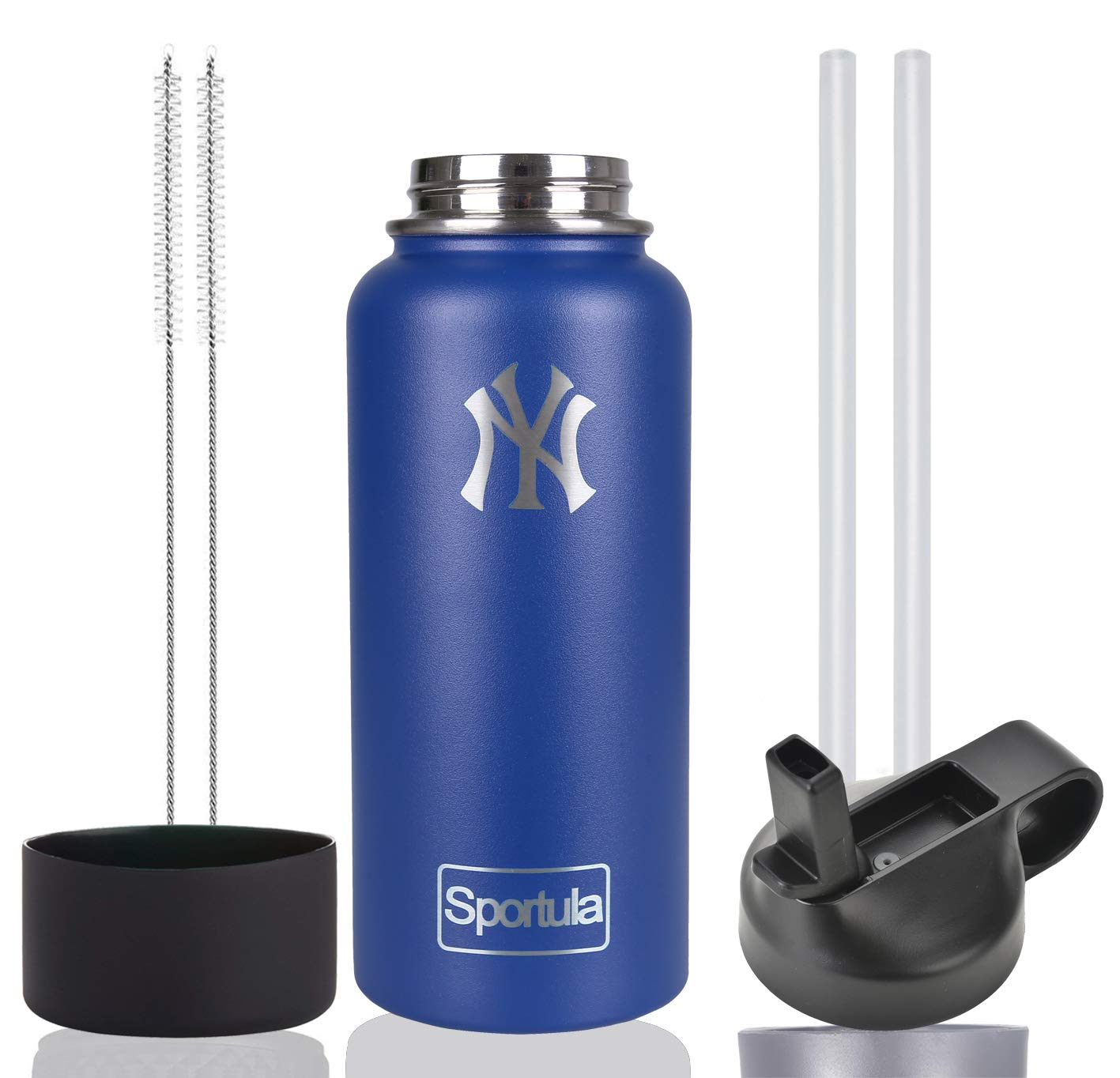 Sportula MLB 32 oz Water Bottle - Stainless Steel & Vacuum Insulated - Wide Mouth with Straw Lid - 2 Straws & 2 Brushes and 1 Protective Boot (Cobalt New York Yankees) by Sportula