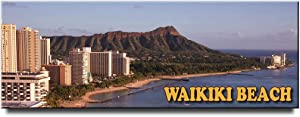 Waikiki Diamond Head fridge magnet Honolulu Oahu travel souvenir Hawaii