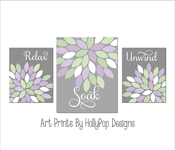 Relax Soak Unwind   Bathroom Wall Art   Dahlia Bathroom Decor   Purple Gray Bathroom  Art