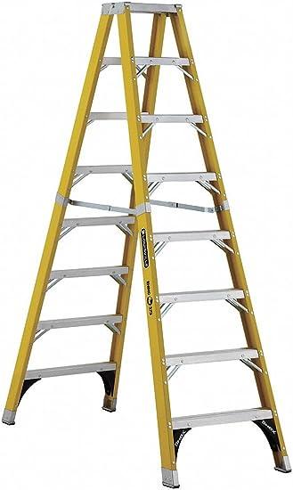 Escalera de fibra de vidrio de 8 pies con 375 libras. Capacidad de carga: Amazon.es: Bricolaje y herramientas