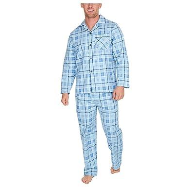4a4b510fe6 Metzuyan Mens Flannel Pyjama Set 100% Cotton Warm Plus Size Blue Stripe  Medium