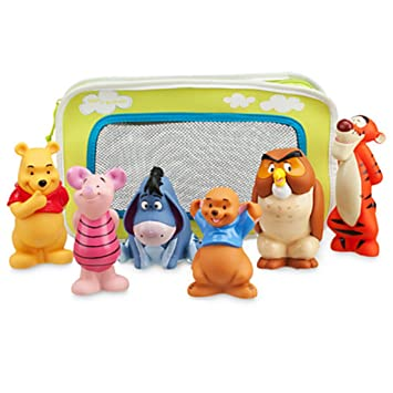 amazon com winnie the pooh and pals bath toy set in zipped bag