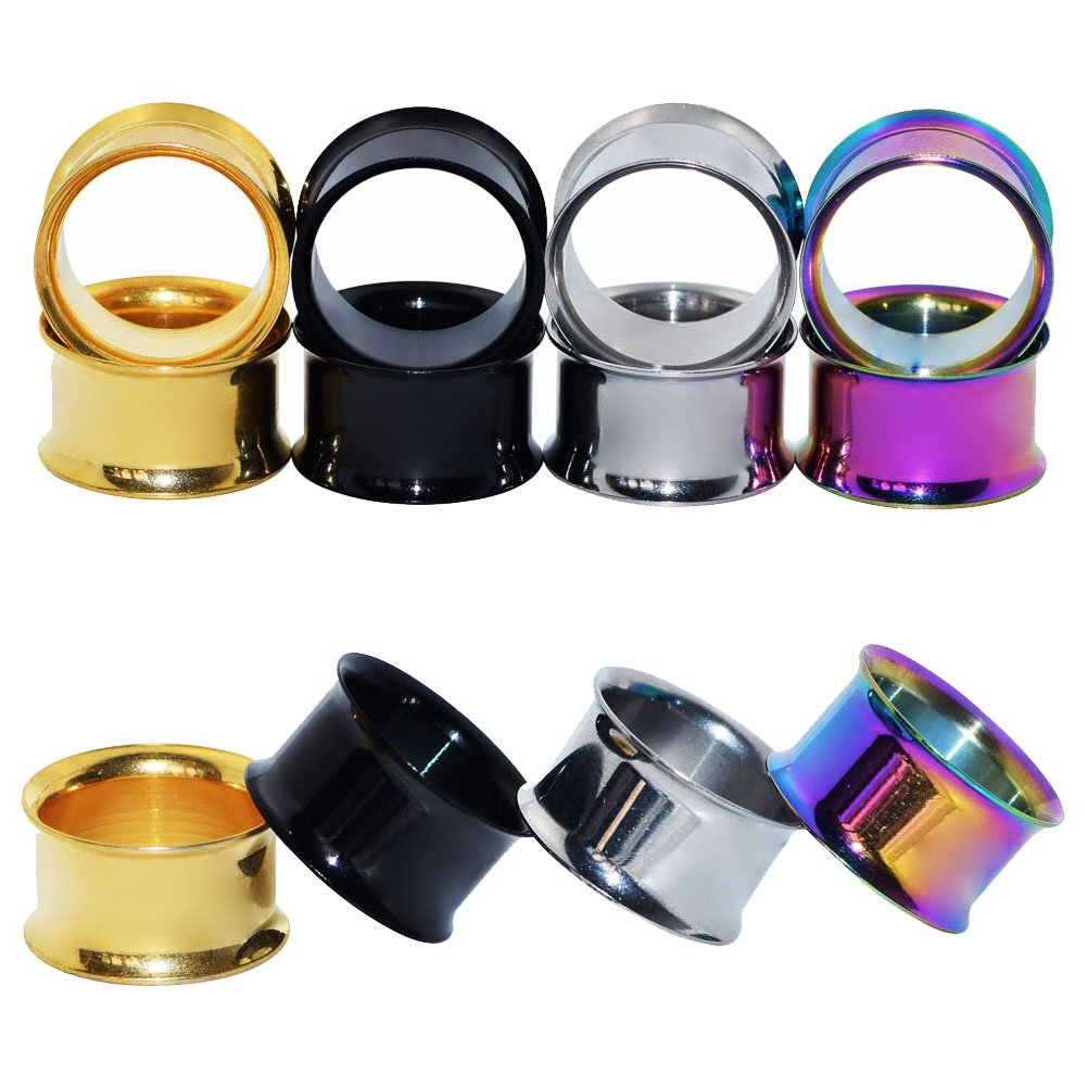 Qmcandy 4 Pairs Stainless Steel Double Twin Flare Flesh Tunnel Ear Plug Gauges 1/2 in by Qmcandy