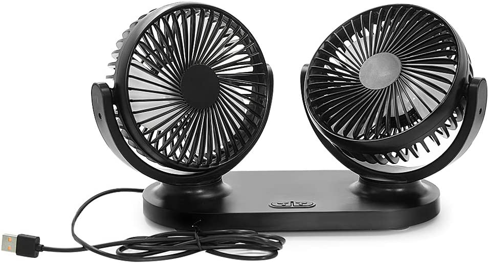 Aoneky 5V 2A 360 Rotating Dual USB Fan – Portable Personal Office Desk USB Fan