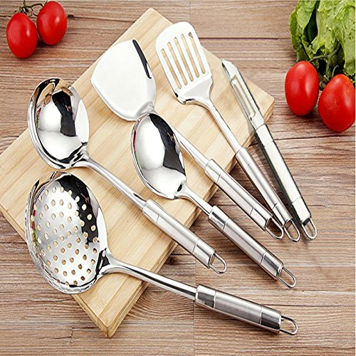 MDRW-Cooking Good Helper Stainless Steel Cookware With A Colander Shovel Teaspoon Of Kitchen Wok Kit ()