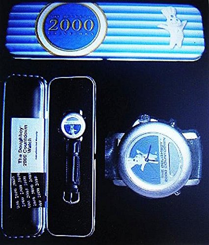 (Pillsbury Doughboy 2000 Millennium Countdown Watch Leather Band in Factory Sealed Collector's Tin-Current MKT Value $40 & Up-Rare )