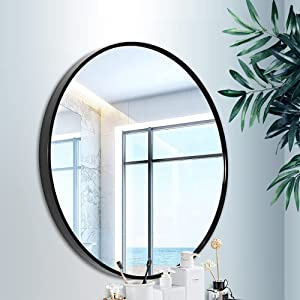 Round 30x30 Inch Wall Mirror Black Makeup Mirror for Bathroom Entryways Living Rooms Washrooms