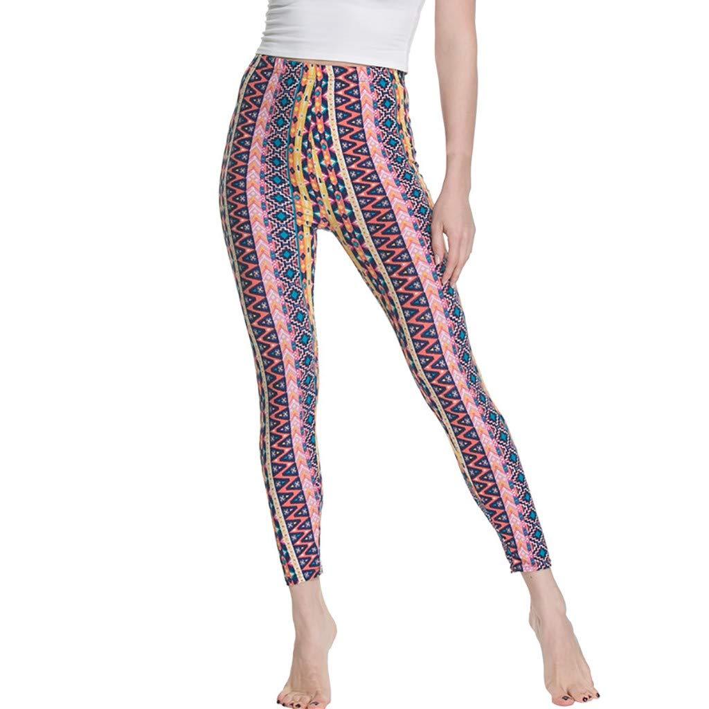 NUWFOR Women's High Waist Print Yoga Leggings Running Pants Pants(Pink,M US Waist:23.62-43.31'')