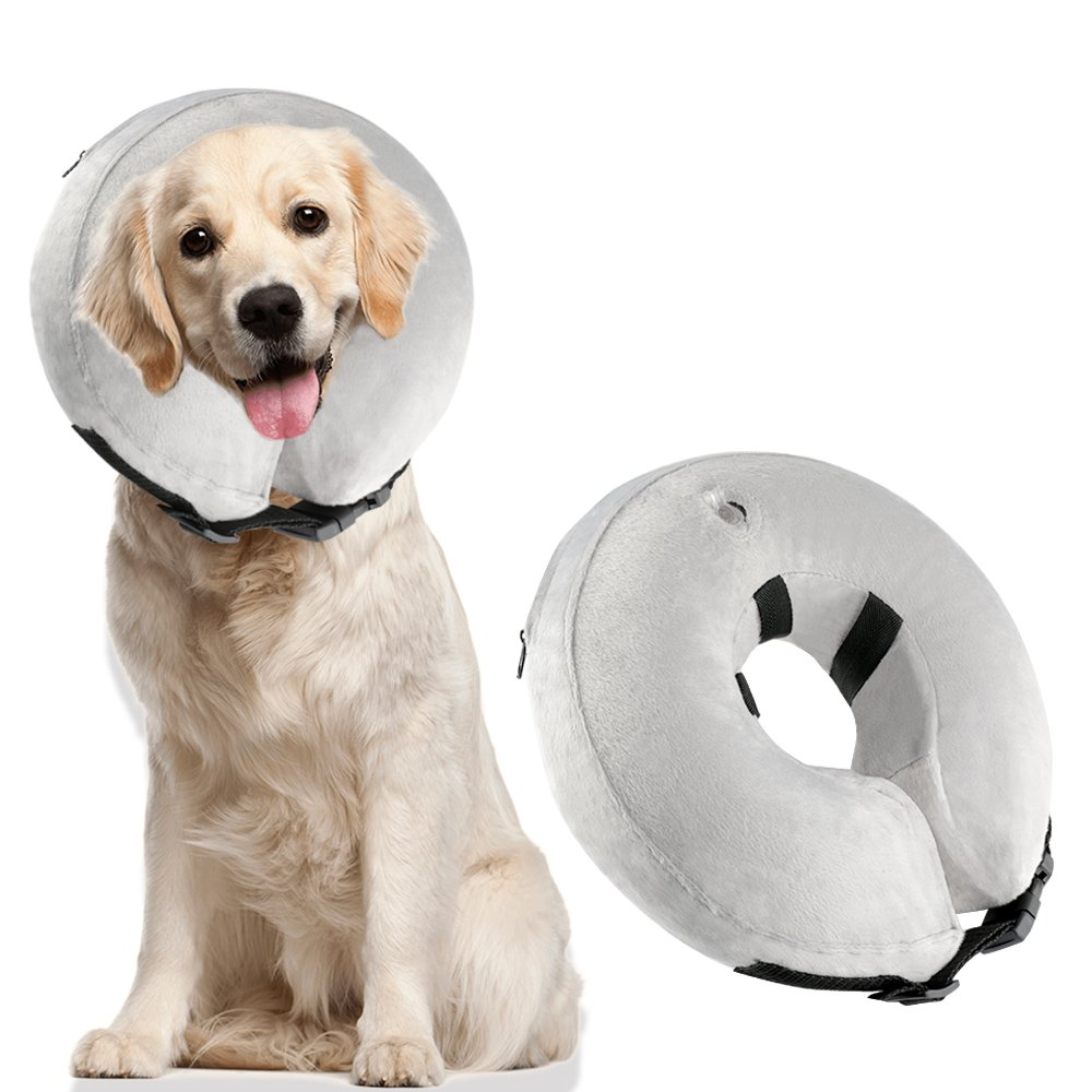 Airsspu Protective Inflatable Dog Collar - Soft Pet Recovery E-Collar Cone for Small Medium Large Dogs, Designed to Prevent Pets From Touching Stitches, Large