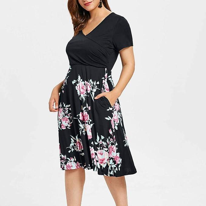 Amazon.com: Sharemen Womens Vintage Floral Print V-Neck Dress Short Sleeve Casual Work/Party Skirt: Clothing
