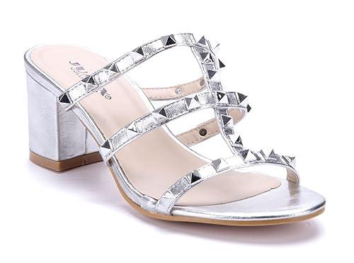 1e16954f9b0147 Schuhtempel24 Damen Schuhe Pantoletten Sandalen Sandaletten Silber  Blockabsatz Nieten 7 cm