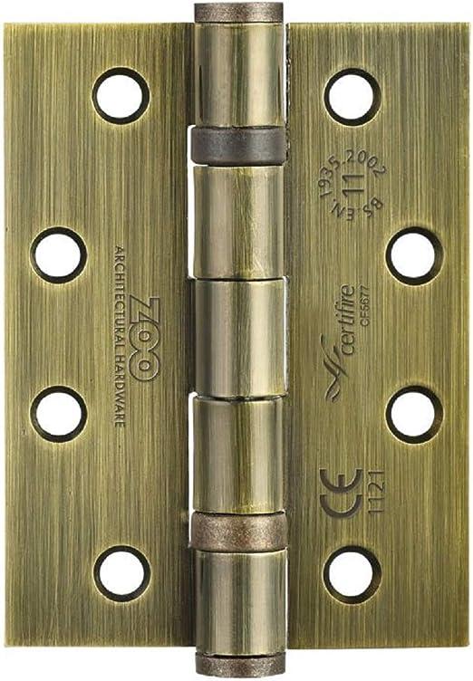 102 x 76 x 3 mm, se Vende como par Zoo Hardware ZHS43 + Tornillos Bisagra de Acero para Puerta