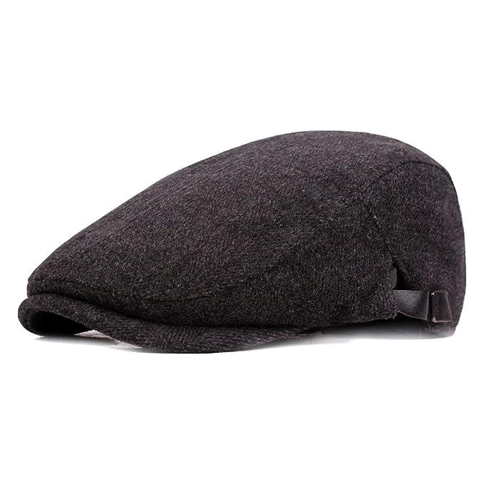 ac697833bf85b Ambysun Winter Warm Cotton Flat Cap Gatsby Duckbill Hat Newsboy Ivy Irish  Cabbie Scally Cap (Black)  Amazon.ca  Clothing   Accessories