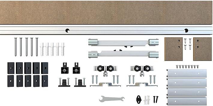 1 riel de aluminio para puerta corredera interior de armario con cierre suave para perno de pared de 40,6 cm: Amazon.es: Bricolaje y herramientas