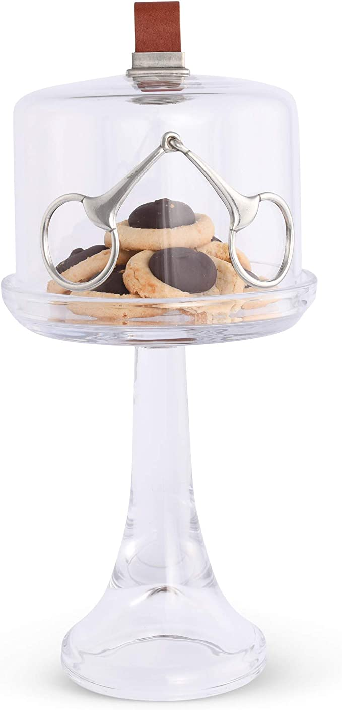 Plate Vagabond House Handblown Glass Cake//Dessert//Cupcake Stand with Glass Dome Cover with Solid Pewter Bunny//Rabbit Knob Handcrafted Design 4 inch Tall 13 inch Diameter Plate