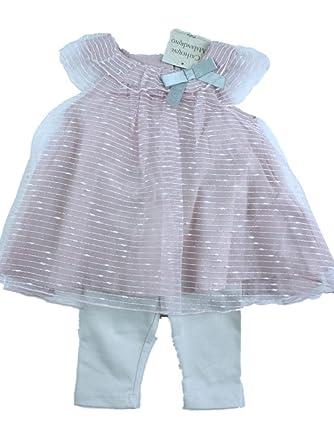 368a83394 CATHERINE MALANDRINO Mini Baby Girls Pink Formal Dress with Leggings 3-6  mths: Amazon.co.uk: Clothing