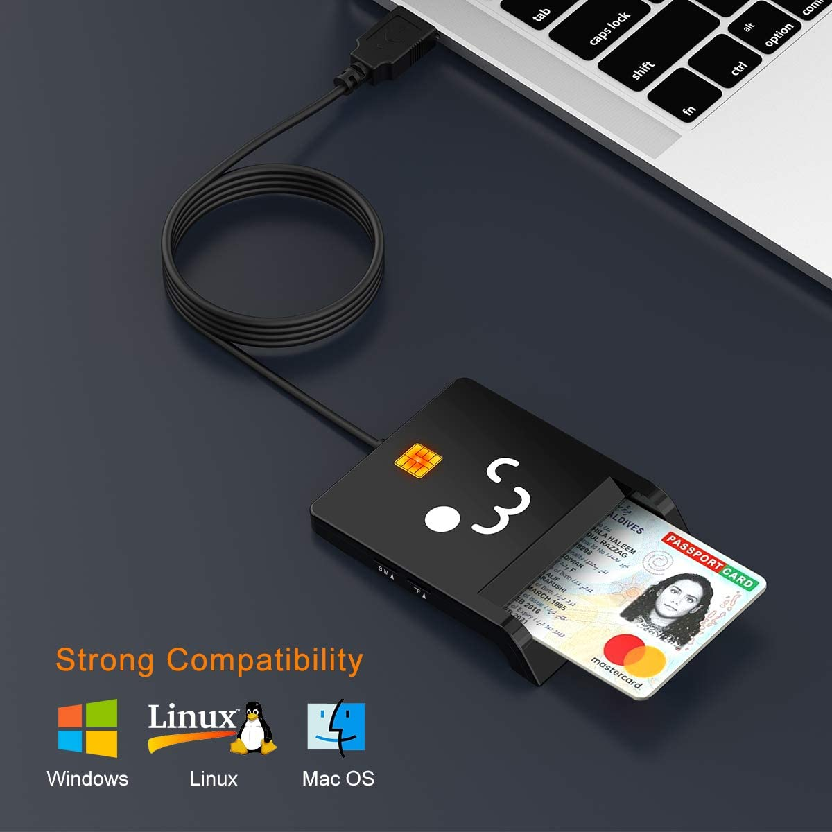 Mac OS Smart Card Reader-Military Smart Card Reader Common Access CAC Reader Compatible with Windows XP//Vista//7//8//10 CAC USB Smart Card Reader TF USB SD//Micro SD