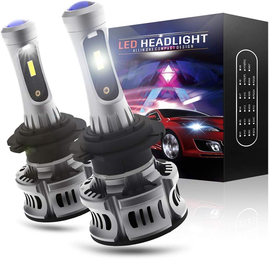 H7 LED 12000LM Bombillas con Blanco Luces de Circulación Diurna para Luz de Cruce o Luz de Carretera, 12V, 6000K Blanca