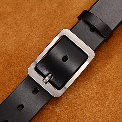 - Men's belt leather belt men male leather strap pin buckle casual men's belts ceinture homme A BLACK 95cm