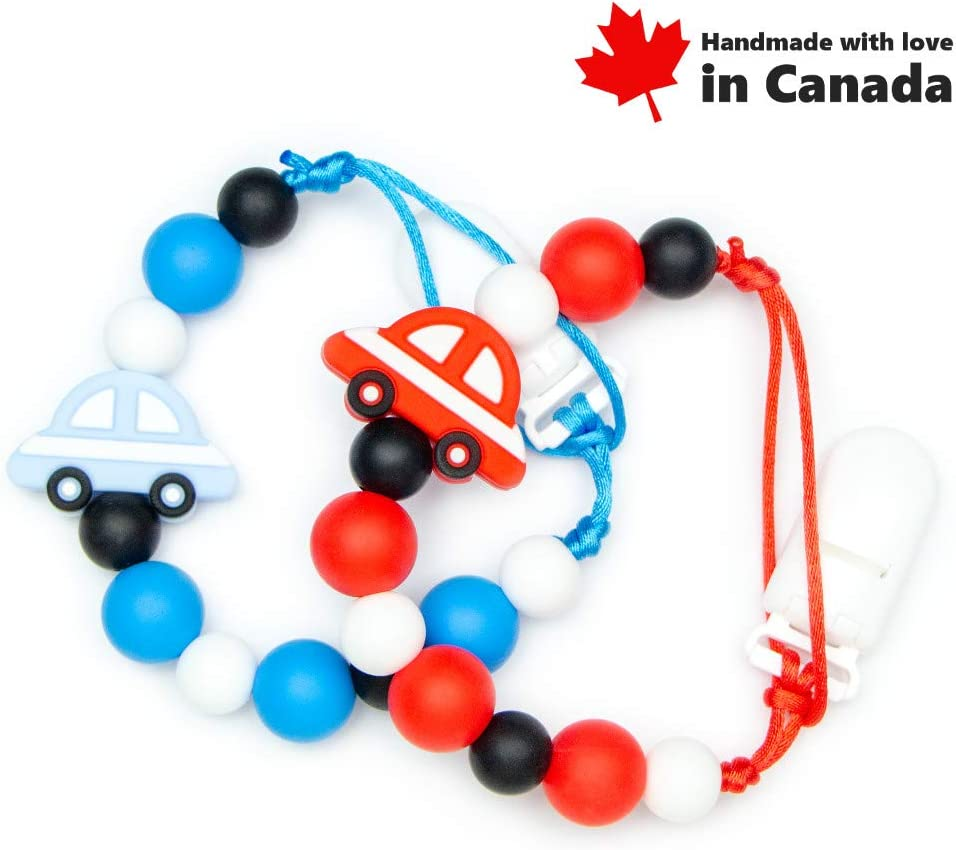 Soothie or Other Pacifiers Compatible with MAM Handmade in Canada Car NUK Red Tommee Tippee // High Quality Silicone Teething Beads Pacifier Clip Holder