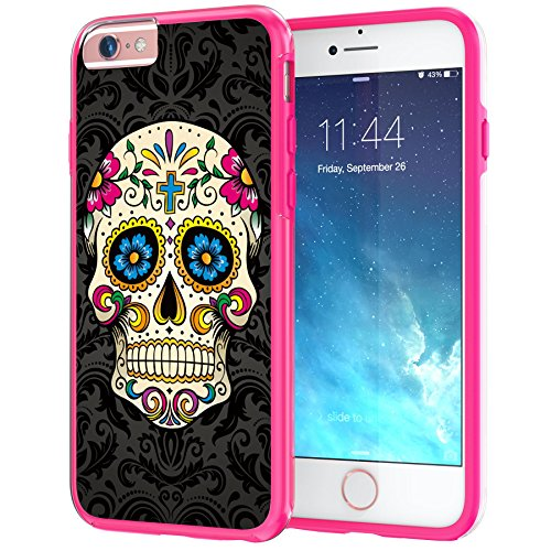 "Price comparison product image iPhone 6 Plus, iPhone 6s Plus 5.5"" Case, True Color Colorful Sugar Skull on Damask HD Printed Hybrid Cover Hard + Soft Slim Durable Protective Shockproof Rubber TPU Bumper - Hot Pink"
