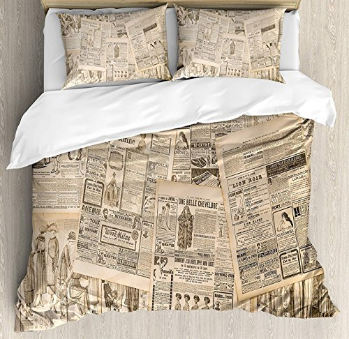 LEO BON Antique Duvet Cover Set Queen Size, Newspaper Pages with Advertising and Fashion Magazine Woman Edwardian Publicity Image Floral Duvet Cover and Pillow Shams Bed Set, (Edwardian Queen Bed)