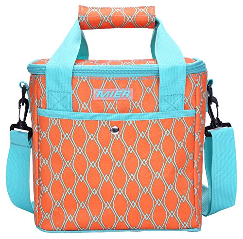 Leak Proof Peva Lining - MIER 9 Can Insulated Lunch Bag for Women Leakproof Soft Cooler Tote, Orange