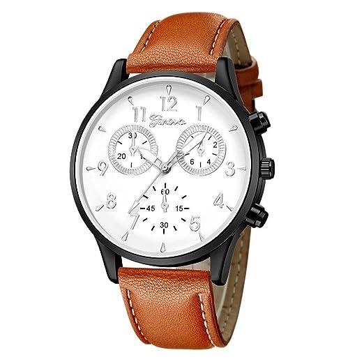 Relojes Hombre,❤LMMVP❤Los hombres de moda de cuero militar casual analógico reloj de pulsera de cuarzo relojes de negocios (B): Amazon.es: Relojes