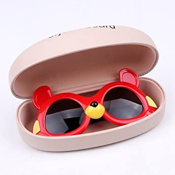 MinegRong Kinder Frühling Sonnenblende Sonnenbrille 2-9 Kind Sonnenbrille Objektiv Spiegel Spiegel Gläser, Roter Bär