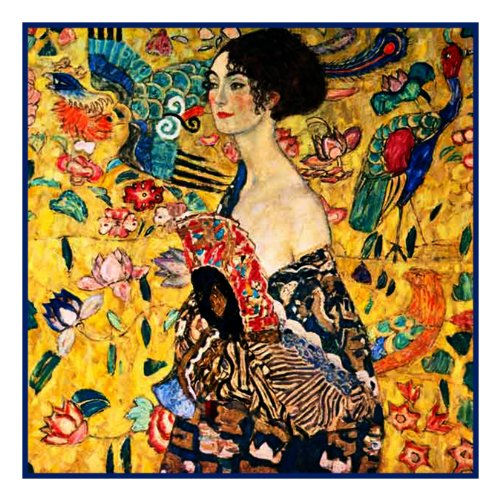Woman with a Fan by Gustav Klimt Counted Cross Stitch Pattern (Cross Stitch Counted Woman)