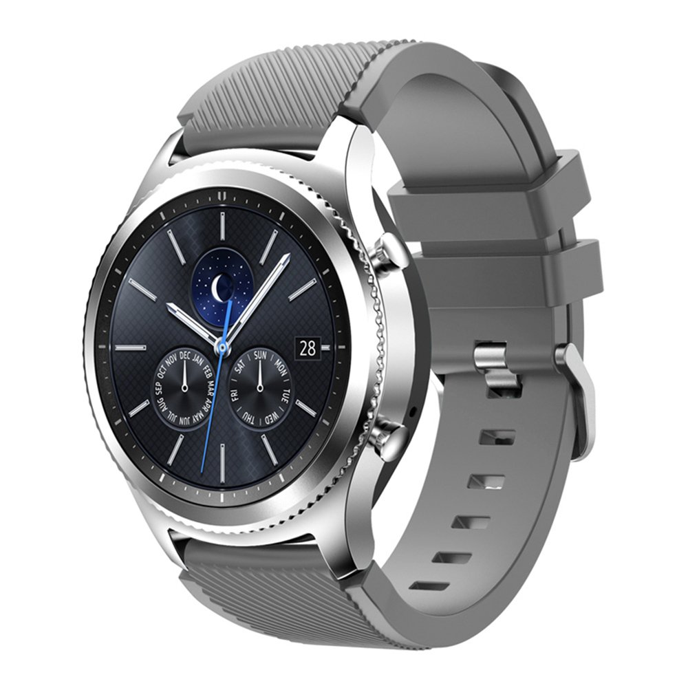 Compatible for Samsung Galaxy Watch Band 46mm, Gear S3 Band Silicone Strap Sport Wristband Replacement Band for Samsung Gear S3 Frontier/Gear S3 Classic Watch Band Bracelet Accessory (Gray)