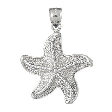 Amazon 14k white gold starfish pendant 27 x 40 mm jewelry mozeypictures Choice Image