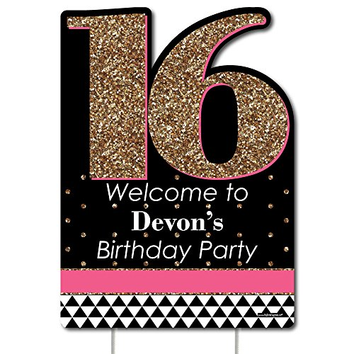 Big Dot of Happiness Custom Chic 16th Birthday - Pink, Black and Gold - Party Decorations - Birthday Party Personalized Welcome Yard Sign