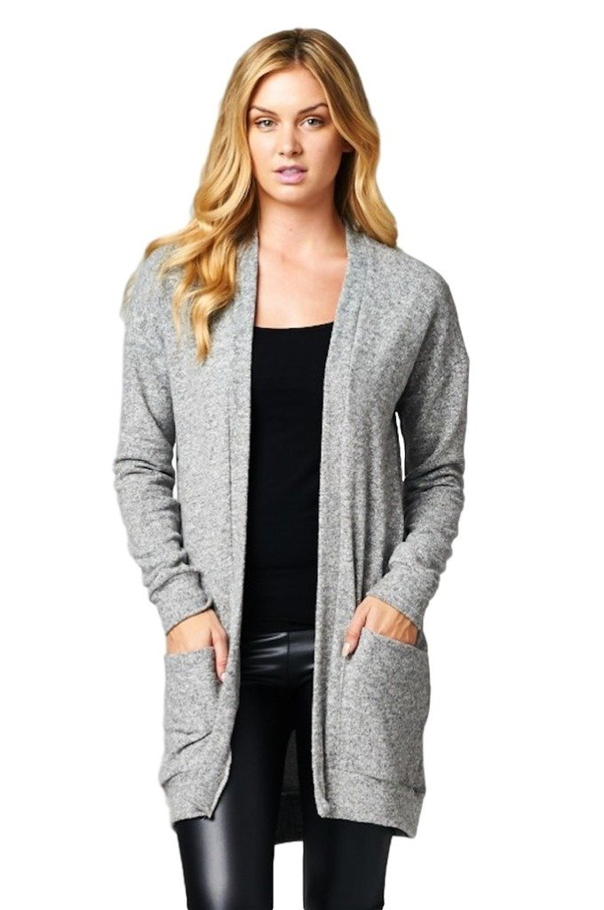 Cherish Women's Long Knit Open Cardigan with Side Pockets (Large, Heather Gray)