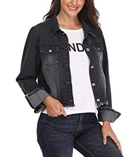 b6df5880c98 MISS MOLY Jean Jacket Women s Frayed Washed Button Up Cropped Denim Jacket  w 2 Side Pockets