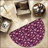 Eggplant Bath mats for Floors Abstract Floral Arrangement with a Variety of Cute Flowers in Calming Environment Bathroom Mats Half MoonH 55.1'' xD 82.6'' Dark Purple